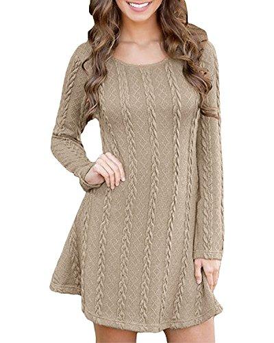 em Long Sleeve Round Neck Doll Flare Maxi Casual Mini Dress (16, Khaki Cable) ()