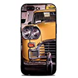 Phone Case Compatible with iphone7 Plus iphone8 Plus Brandnew Tempered Glass Backplane,NYC Decor,Picture of Antique Yellow Taxi Historical Element of Old NYC Nostalgia Vintage Cab Theme,Yellow Grey,An
