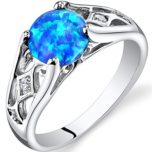 Created Blue Opal Venetian Ring Sterling Silver 1.00 Carats Size ()