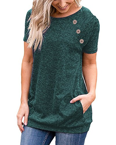 LEANI Women's Casual Short Sleeve Solid Color Button Decor T-Shirt Tunic Tops Blouse with Pockets Green