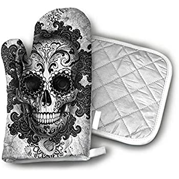 LALABULU Oven Mitts Sugar Skull Black Non-Slip Silicone Oven Mitts, Extra Long Kitchen Mitts, Heat Resistant to 500Fahrenheit Degrees Kitchen Oven Gloves