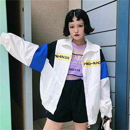 Jacket Giaccone Elegante Cappotto Bianca Ragazze Leggero Digitale Cucitura Festa Sciolto Casual Sottile Stampate Moda Style Outwear Manica Giacca Lunga Primaverile Donna Mare Autunno 7HpdSpxw
