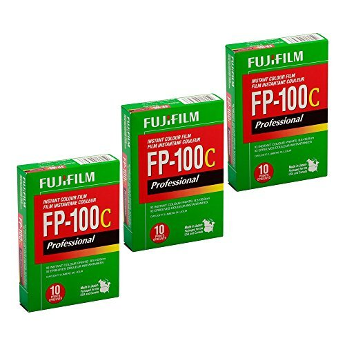 FujiFilm FP-100C Professional Instant Color Film 3-Pack (30 Prints) (Fuji 100c Polaroid Film)