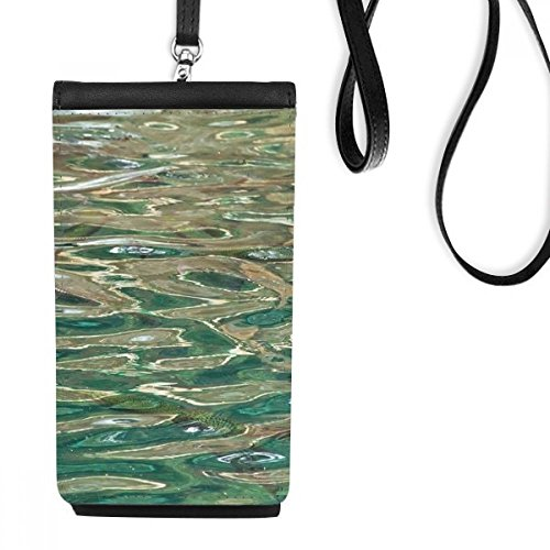 Fish Hanging Surface - Water Surface Ripple Blue Waves Fish Faux Leather Smartphone Hanging Purse Black Phone Wallet Gift
