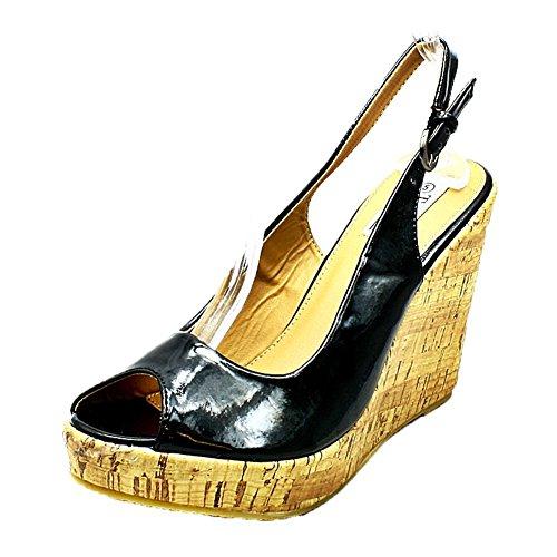 Wedge Peep Heel Patent Sling Ladies Black Toe Shoes Sendit4me Back Sandals gXaWq