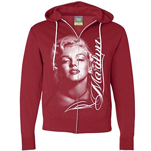 Marilyn Monroe Portrait Signature Zip-Up Hoodie - Red XX-Large