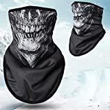 HD Unique Stretchable Windproof Black Tribal Classic Skull Soft Thicken Fleece Half Face Mask Facemask Headwear Motorcycle ATV Biker Cycling
