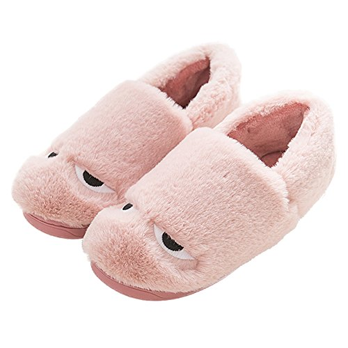 CYBLING Winter Fashion Cute Cartoon House Slipper Fur Lining Shoes Thick Sole Antiskid For Women Pink n0Fbu1KlsR