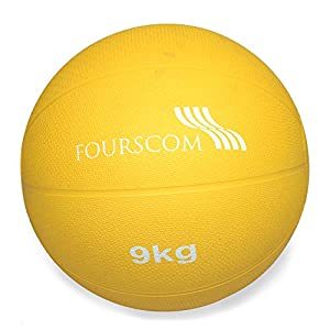 FOURSCOM® Medizinball Fit ball Gymnastikball Gelb 1Kg, 2Kg, 3Kg, 4Kg, 5Kg,...