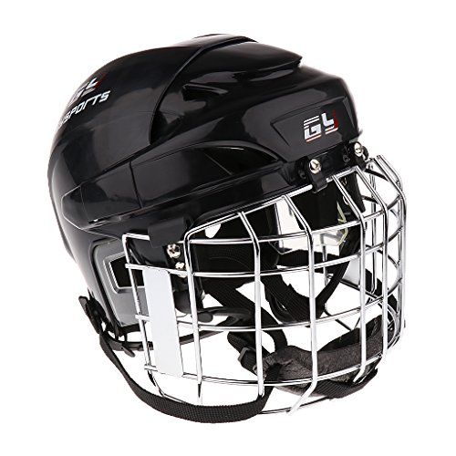 In Line Hockey Helmets (Dovewill CE Certification Ice Hockey Helmet With Face Mask Shield Protective Gear Black White Red Blue XS-XL - Black, XL)