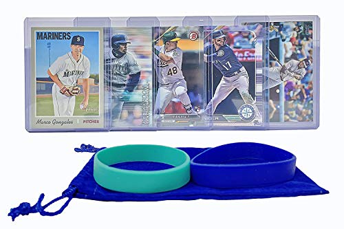 Seattle Mariners Baseball Cards: Mitch Haniger, Domingo Santana, Ryon Healy, Dee Gordon, Marco Gonzales ASSORTED Trading Card and Wristbands Bundle