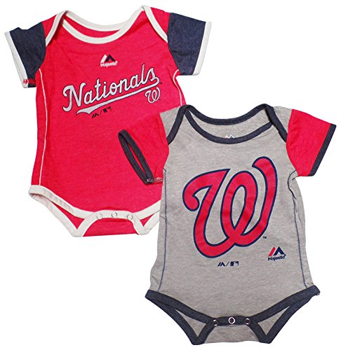 Washington Nationals Baby/Infant 2 Piece Creeper Set 18 - Nationals Washington Piece Mlb 2