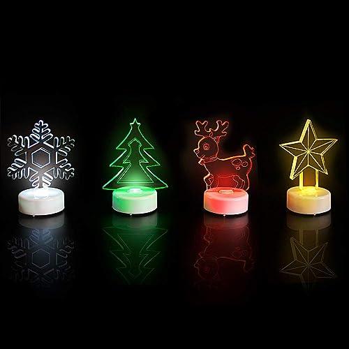 HAVEONE LED Christmas Tea Lights, 4 Pack LED Night Lights Mini Flameless Lights Decoration for Halloween, Party and Christmas