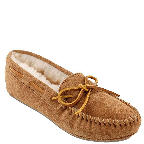 Image of Minnetonka Women's Sheepskin Softsole Moc Slippers Golden Tan 9 B(M) US