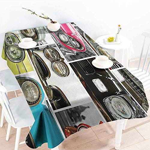(Homrkey Polyester Tablecloth 1960s Decorations Collection Classic Cars Retro Automobile Collage Bumper and Headlights Classics Old Style Pink Black Red Easy to Clean W54 xL84)