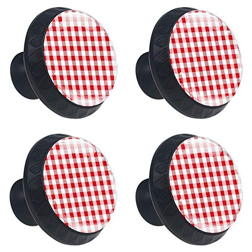 (4 Pieces Set Cabinets Hardware Round Furniture Knobs Red and White Plaid Christmas Decor Print,Drawer Dresser Cupboard Wardrobe Pulls Handles for Home Kitchen)