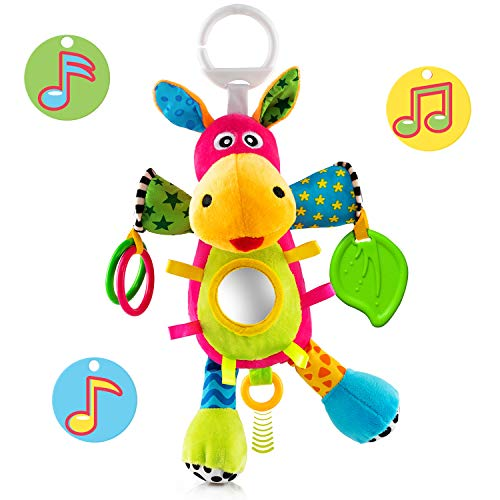 - OKIKI Donkey Plush Infant Toy, Baby Development Toys w/ Musical Box (No Batteries Required), Squeaky Feet, Kids Mirror & BPA Free Teether | Stroller, Crib, Carseat Baby Toys
