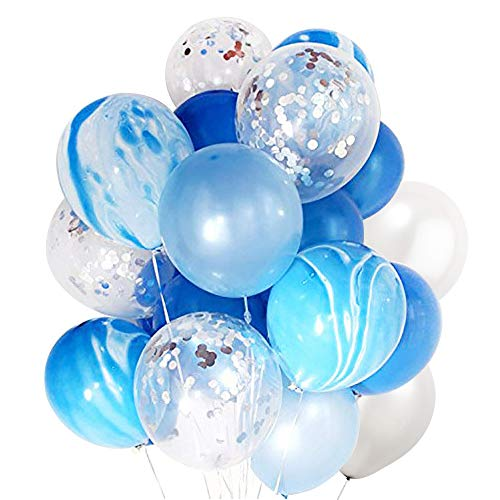 (DIvine 40 Pcs Birthday Party Decorations Balloons Set, Silver Confetti and Blue Agate Marble Balloons Royal and Light Blue White Latex Balloons for Wedding Baby Showers Christmas Festival)