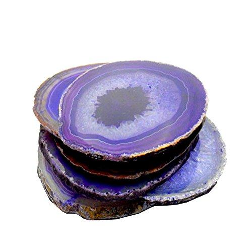 6 (SIX) Agate Coaster - Purple Colored Agate Coasters Rock Paradise COA (AM10B1) (Colored Agate)