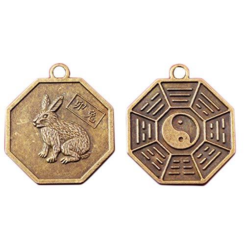 Chinese Zodiac Tai Chi Pakua Feng Shui Pendants W Five Element Thread W Gift Bag Y1043 (Rabbit)