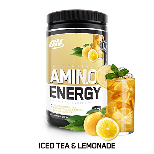 OPTIMUM NUTRITION Essential Amino Energy, Half & Half Lemonade Iced Tea, Keto Friendly BCAAs, Preworkout and Essential Amino Acids with Green Tea and Green Coffee Extract, 30 Servings ()