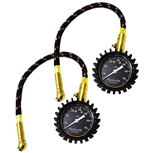 "RHINO USA Tire Pressure Gauge, 0-75 PSI Certified ANSI B40.1 Accurate, Large 2"" Easy Read Glow Dial, Heavy Duty Braided Hose, Solid Brass Hardware, Best For Motorcycle, Truck, RV, SUV, ATV, Etc."