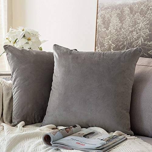 MIULEE Pack of 2 Velvet Pillow Covers Decorative Square Pillowcase Soft Solid Cushion Case for Sofa Bedroom Car 24 x 24 Inch 60 x 60 cm Grey