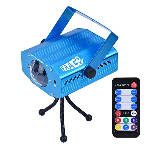 EAAGD Party Lights Strobe 7 color Ocean Wave Projector Stage Halloween Christmas Rgb Led Par Light Lighting with Remote for DJ Bar Karaoke Xmas Wedding (Blue)