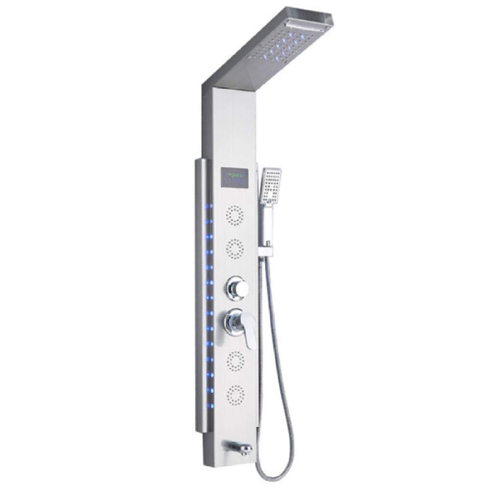 Panel de ducha LED de cascada de 5 funciones de acero inoxidable ...
