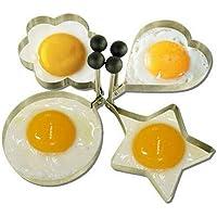 Ogquaton Bricolage Oeuf au Plat Moule en Acier Inoxydable Oeuf au Plat Anneau Cuisson moules Fournitures de Cuisine pour Omelette Pancake Utilisation 4 Pcs