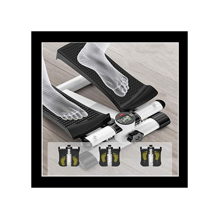 51n2LfB0bjL EJERCITADOR DE PEDAL PORTÁTIL Y EFICIENTE: Mango incorporado compacto y liviano. El espacio mínimo requerido. El entrenamiento efectivo con pedales antideslizantes texturizados y ejercicio de poca atención promueve el movimiento de las piernas y mejora la circulación de una manera que no distraiga. MULTIFUNCIÓN: el modo automático y manual (velocidad y dirección ajustables de los pedales) le permite ajustar el nivel de intensidad de su ejercicio. Máquina paso a paso con cintas de entrenamiento / Dispositivo de entrenamiento paso a paso con resistencia ajustable y consola inalámbrica - Paso a paso arriba-abajo para principiantes y usuarios avanzados, pequeños y compactos. Un monitor de pantalla LED incorporado rastrea el número de zancadas por minuto, el tiempo de ejercicio. SILENCIOSO Y SILENCIOSO: es silencioso con un movimiento de deslizamiento suave y no intrusivo. Puede disfrutar de la comodidad de hacer ejercicio sin molestar a quienes lo rodean. Nota: solo úsela mientras está sentado.