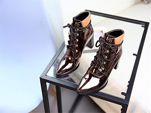 Toe Ladies Boots Short Martin Winter Stage Low Boot Lace Fall High Pointed NVXIE CHAMPAGNE leather Patent Women's Heel Nightclub EUR35UK3 Rough up E8gxq5wnIp