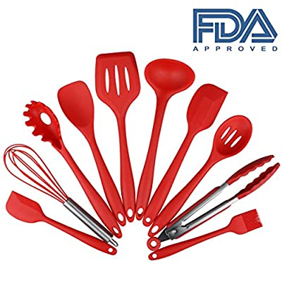 Set of 10 Pieces Silicone Kitchen Cooking Utensils With Hygienic Solid Coating,Heat Resistant Baking Spoonula,Brush,Whisk,Large and Small Spatula,Ladle,Slotted Turner and Spoon,Tongs,Pasta Fork Red from EasyLife