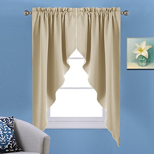 NICETOWN Room Darkening Rod Pocket Kitchen Tier Curtains- Tailored Scalloped Valance /Swags for Nursery for Basement (2 Pieces, 72 inch Wide Combined, 63 inch Long, Warm Beige) (Tailored Long Curtain)