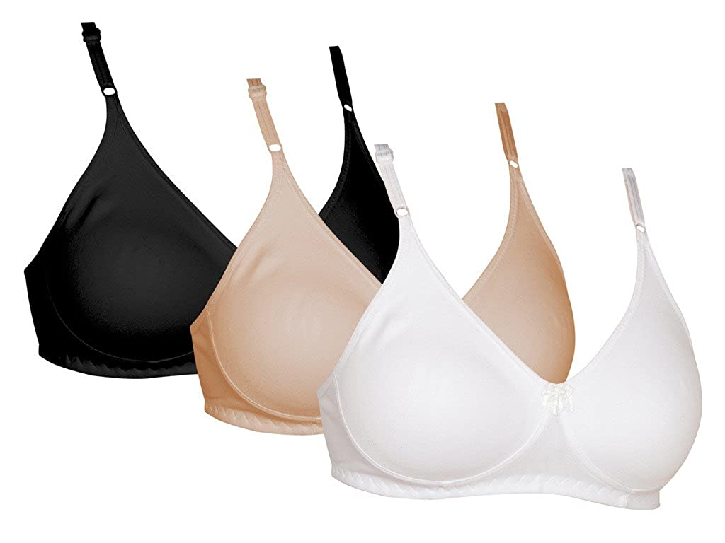 Softskin Women s Cotton Seamless Non Wired T-shirt Bra - Pack of 3   Amazon.in  Clothing   Accessories 1dcf30f9b