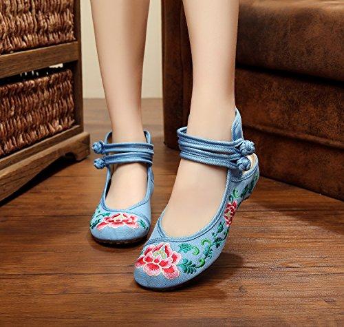 WHH Zapatos bordados, lino, lenguado, estilo étnico, zapatos femeninos, moda, cómodo, sandalias Blue