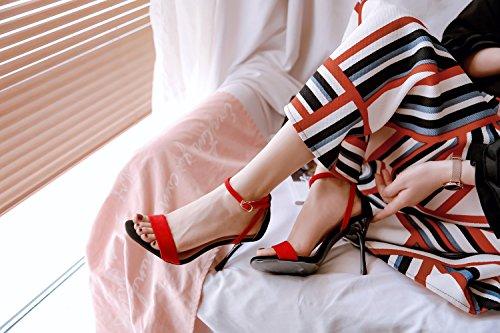 Tête Talons Femmes Les Couleur Fine Et Haute Toe Unis Rouge Carré Boucle avec Mode États XIAOQI Europe Nouvelle Sandales avec ax4PAwqOnE