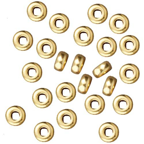 Bright 22K Gold Plated Lead-Free Pewter Disk Heishi Spacer Beads 3mm (50) - Heishi Spacer Beads