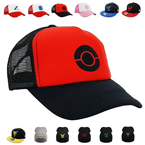 PopCrew [Embroidered Team Trainer Hat] Pokemon Cosplay (Pokemon Trainer Couples)