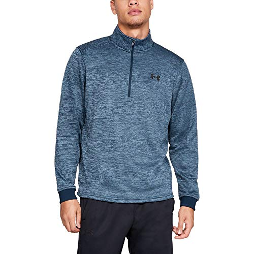 Under Armour Men's Armour Fleece 1/2 Zip, Academy (408)/Black, Large