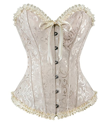 HLGO Lady's Sexy Flower Pattern Steampunk Bustier Metal Buckle Button Adjustable Back Lace Up Corset for Womens Beige 3XL Size (Princess Corset)