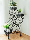 HOMEE Flower Rack Balcony Floor Three Layers of Multi-Meat Movable Iron Flower Rack Multi - Purpose Multi - Storey Flower Stand with Wheels --Home Environment Decorations,1