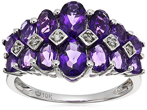 10k White Gold African Amethyst and Diamond Accented Band Ring, Size 7 - African White Gold Ring