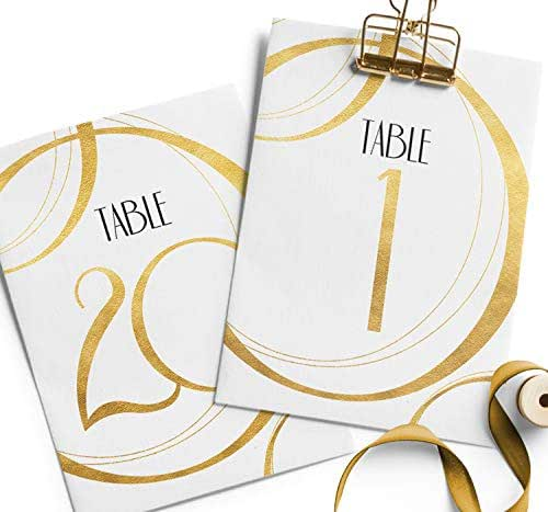 Gold Wedding Table Numbers: Amazon.com: Modern Gold Wedding Table Numbers 1-20, Table