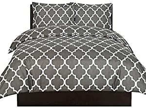 Utopia Bedding Printed Duvet Cover Set (Queen, Grey) - Luxurious Brushed Velvety Microfiber - Comfortable, Breathable and Soft Material - Wrinkle, Fade & Stain Resistant - Hotel Quality