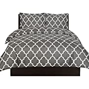 Utopia Bedding Printed Duvet Cover Set - Luxurious Brushed Velvety Microfiber - Comfortable, Breathable and Soft Material - Wrinkle, Fade & Stain Resistant - Hotel Quality (Queen, Grey)