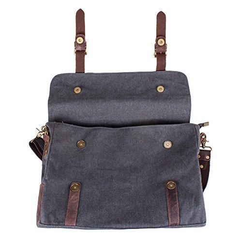 S ZONE Vintage Canvas Leather Messenger Laptop Bag