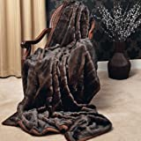 "Faux Fur Throw Blanket 58"" x 84"" - Brown Mink - TR - NewArrivals"