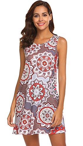 SimpleFun Women's Summer Sleeveless Bohemian Print Tunic Swing Loose Pockets T-Shirt Dress (XXXL, ()