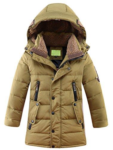 Mallimoda Big Boy's Hooded Bubble Jacket Heavyweight Solid Puffer Coat Kaki 7-8 Years